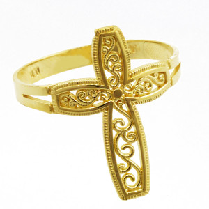 Yellow Gold Filigree Design  Cross Ring
