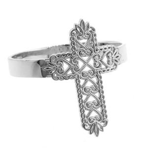 White Gold Thorned Filigree Cross Ring