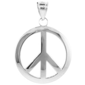 925 Sterling Silver Peace Symbol Pendant Necklace (L)