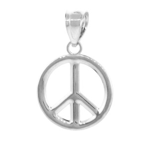 925 Sterling Silver Peace Symbol Pendant Necklace (M)