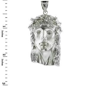 White Gold Jesus Face Large CZ Pendant