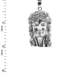 White Gold Face of Jesus Pendant with CZ (Medium)