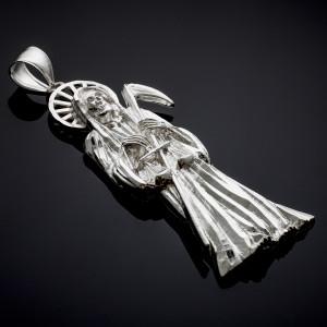White Gold Santa Muerte (Grim Reaper)  Pendant