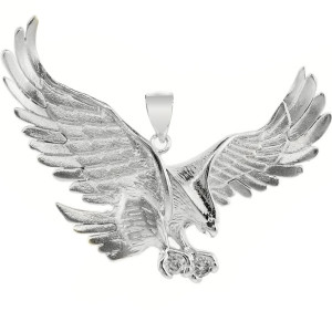 White Gold Eagle Pendant with CZ (Large)