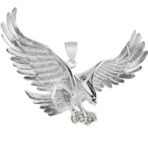 925 Sterling Silver  Eagle Pendant with CZ (Large)