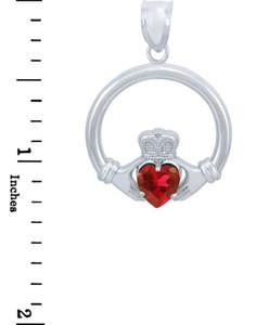 Silver Claddagh Garnet CZ Heart Pendant (L)