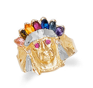 Gold Indian Head Cubic Zirconia Mens Ring