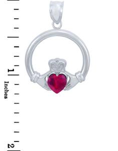 Silver Claddagh Ruby CZ Heart Pendant (L)