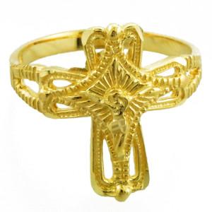 Yellow Gold Crucifix Cross Ring