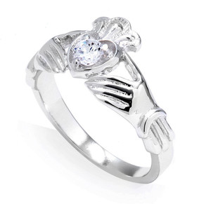 14k White Gold 0.19 Carats Diamond Claddagh Engagement Ring