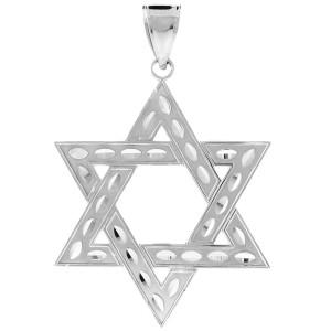 "925 Sterling Silver Jewish Star of David Pendant (L) 2.2"""