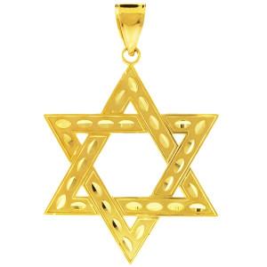 """Gold Jewish Star of David Pendant (L) 2.2"""""""