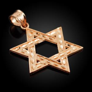 "Rose Gold Jewish Star of David Reversible Pendant (M) 1.25"""