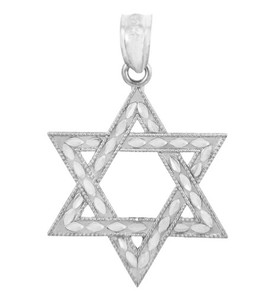 925 Sterling Silver Jewish Star of David Charm Pendant  Necklace (S) 1-inch