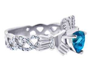 18K White Gold Diamond Claddagh Ring with 0.4 Ct. Blue Topaz