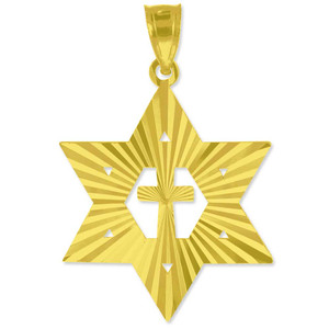 "Yellow Gold Jewish Star of David with Cross Pendant (M) 1.25"""