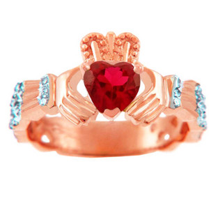 Rose Gold Diamond Claddagh Ring with 0.4 Ct Garnet