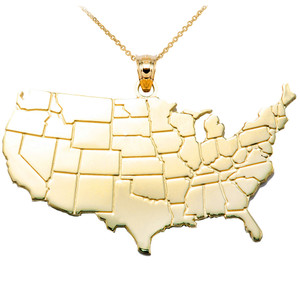 United States Map Yellow Gold Pendant Necklace