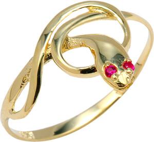Yellow Gold CZ  Snake Ring