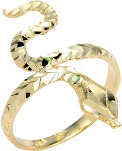 Yellow Gold Serpent Diamond Cut Ring