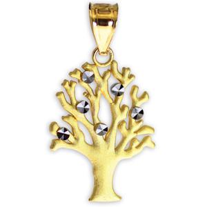 Satin Finish Gold Tree Of Life Charm Pendant Necklace
