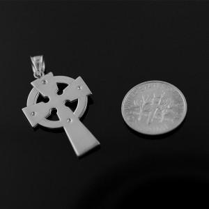 White Gold Celtic Cross Diamond Pendant