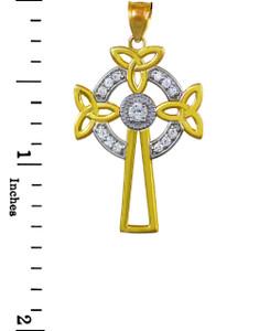 Two-Tone Gold Celtic Cross Trinity Knot Diamond Pendant Necklace