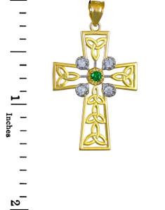 Gold Celtic Cross Trinity Knot Diamond Pendant with Emerald