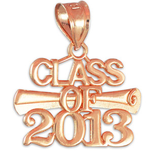 "Rose Gold ""CLASS OF 2013"" Graduation Charm Pendant"