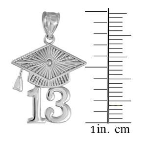 White Gold CLASS OF 2013 Graduation Cap Pendant