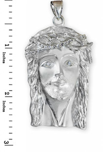 White Gold Jesus Face Iced-out CZ Pendant (XL)