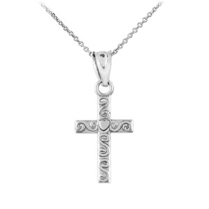 Sterling Silver Twirl Cross Charm Pendant Necklace