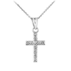 White Gold Twirl Cross Charm Pendant Necklace