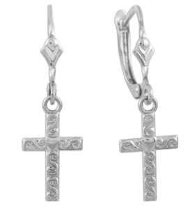 White Gold Twirl Cross Dangle Earrings