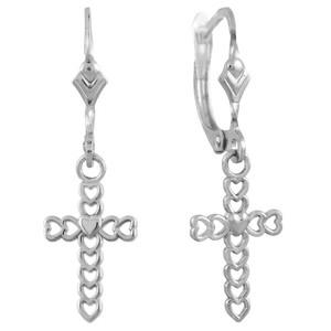 White Gold Open Hearts Cross Dangle Earrings