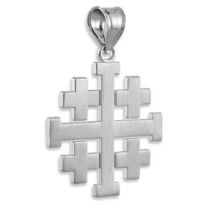 "Matte Jerusalem ""Crusaders"" Cross Pendant  in Sterling Silver"