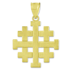 """Matte Jerusalem """"Crusaders"""" Cross Pendant Necklace in Gold (Yellow/Rose/White)"""