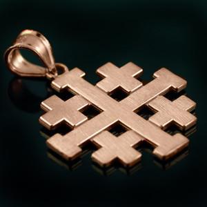 "Matte Rose Gold Jerusalem ""Crusaders"" Cross Pendant Necklace"