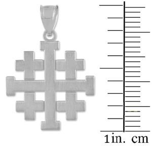 "Matte White Gold Jerusalem ""Crusaders"" Cross Pendant Necklace"