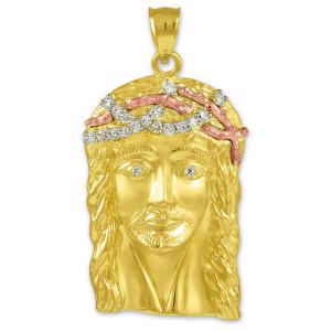 Multi-tone Yellow Gold Jesus Face Iced CZ Pendant