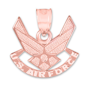 Rose Gold US Air Force Wings Pendant Necklace
