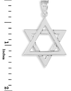 Polished White Gold Star of David Pendant Necklace