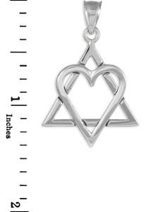"White Gold Star of David Heart Large Pendant (1.4"")"