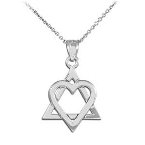 925 Sterling Silver Star of David Heart Medium Pendant Necklace