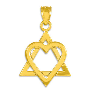 "Yellow Gold Star of David Heart Medium Pendant (1.1"")"