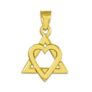 "Yellow Gold Star of David Heart Charm Pendant (0.9"")"