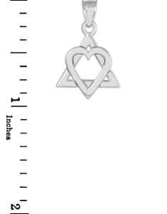 "White Gold Star of David Heart Charm Pendant (0.9"")"