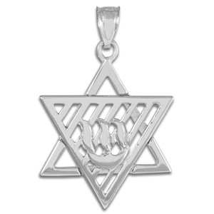 Silver Flaming  Star of David Pendant Necklace