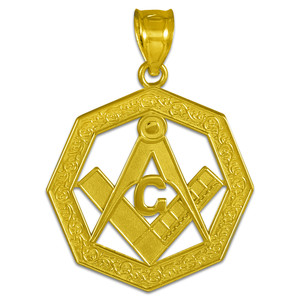 Yellow Gold Freemason Octagonal Masonic Bail Pendant Necklace
