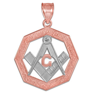 Two-Tone Rose Gold Freemason Octagonal Masonic Pendant
